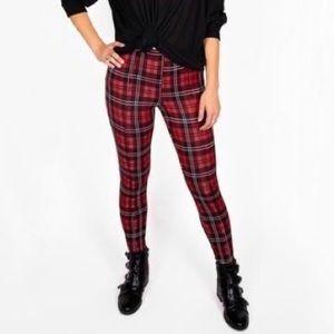 Paisley Raye red black plaid leggings pants 0X NWT
